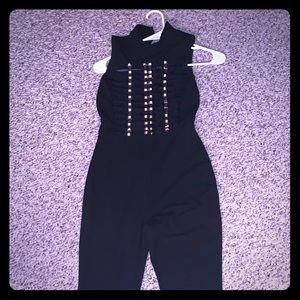 Black and gold sheer top jumpsuit